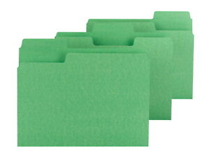 Smead 1 3 Cut Colored Super Tab File Folders Letter Size Green Pack Of 100