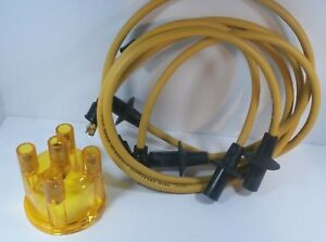 Vw Ignition Wires Distributor Cap Set Yellow 8mm 1200 1600cc Bug Bus Ghia