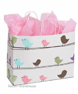 Paper Shopping Bags 100 Ct Birds 16 X 6 X 12 vogue Merchandise Gift Retail