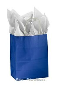 Paper Shopping Bags 100 Glossy Royal Blue Merchandise 8 X 4 X 10 H