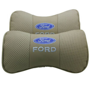 2pcs Beige Color Real Leather Car Seat Neck Pillow Car Headrest Fit For Ford Car