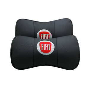2pc Real Leather Car Seat Neck Cushion Pillow Car Headrest Fit For Fiat Car