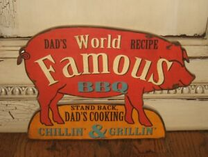 Dad S Bbq Pig Wall Sign Primitive Country Urban Farmhouse Kitchen Diner Decor