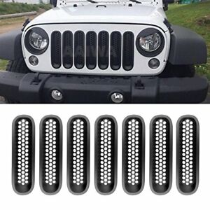 7pcs Front Mesh Grill Insert Screen Set For Jeep Wrangler Jk 2007 2016 Black