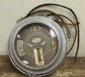 Vintage 1937 1938 Ford Deluxe Fuel Oil Temp Battery Instrument Cluster Gauge