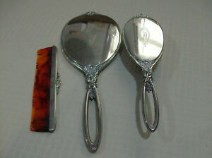 R B Co Estate Sterling Silver Vanity Hand Mirror Brush Comb Euc Free Ship