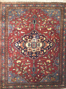 Antique Persian Sarough Rug Wool On Cotton Foundation