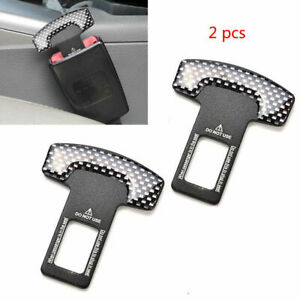 4pc Universal Carbon Fiber Car Safety Seat Belt Buckle Alarm Stopper Clip Clamp