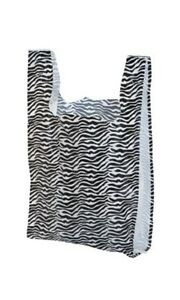 Zebra Plastic Merchadise T shirt Shopping Bags