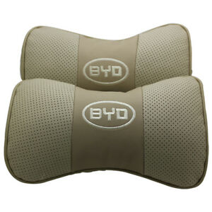 2pcs Real Leather Beige Car Seat Neck Pillow Car Headrest Fit For Byd Auto