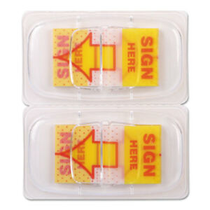 Deluxe Message Arrow Flags sign Here Yellow 500 pack