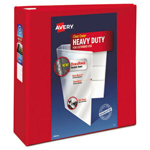Heavy duty View Binder W locking 1 touch Ezd Rings 4 Cap Red