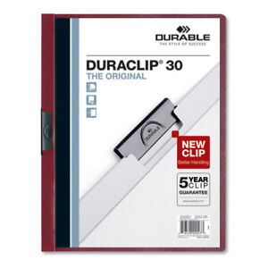 Vinyl Duraclip Report Cover W clip Letter Holds 30 Pages Clear maroon 25 box