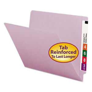 Colored File Folders Straight Cut Reinforced End Tab Letter Lavender 100 box