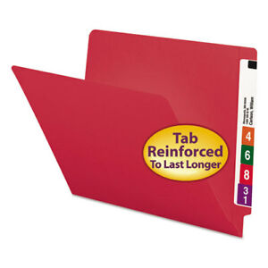 Colored File Folders Straight Cut Reinforced End Tab Letter Red 100 box