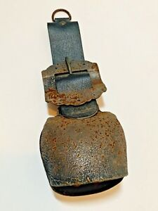 Antique Iron Cow Goat Sheep Bell Leather Belt Iron Buckle Ranch Farm Rustic