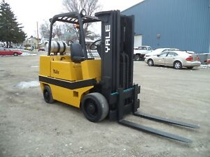 Yale Model Gc80 8 000 8000 Cushion Tired Forklift Lpg Powered 3 Stage Mast