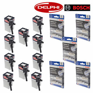 Set Of 10 Delphi Ignition Coils And Bosch 4305 Spark Plugs For Ford Motor Co