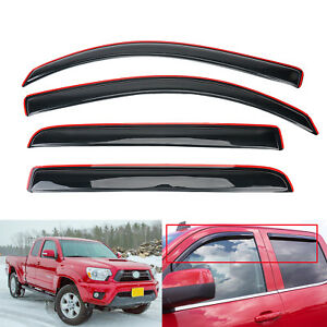 Smoke In Channel Window Sun Rain Vent Visor For 2016 2019 Toyota Tacoma Crew Cab