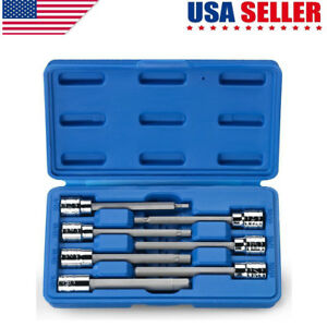 7pc Extra Long Hex Bit Set Sae Standard 3 8 Drive Allen Socket Kit Us
