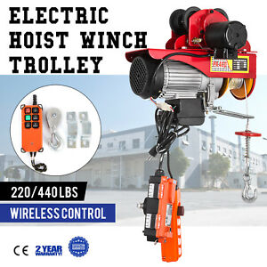 Electric Wire Rope Hoist W Trolley 220lb 440lb 600w Lifting Automatic
