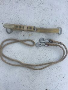 Vintage Esb Miller 124n Nylon 2 Anchor Point Safety Belt With Rope Lanyard