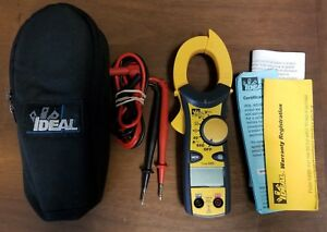 Ideal 61 746 Clamp pro 600 Amp Clamp Meter True Rms Padded Case Leads