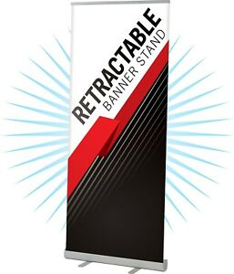 Aluminum Retractable Banner Stand 33 5 x80 With Full Color Banner