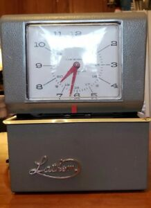 Lathem Time Clock Industrial Card Recorder Vintage With Key In Working Condition