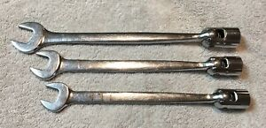 Snap on Tools 3 pc Sae Combination Flex Head Wrench Set Fho22 24 28 Nice