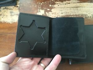 Vintage Tex Shoemaker Black Leather Police Badge Id Wallet Sheriff 6 Point Star