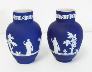 Antique Pair 2 Of Wedgwood Adams Jasperware Blue Cameo Urns Free Shipping