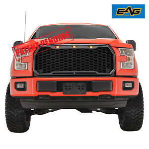 Black Abs Replacement Upper Honeycomb Grille Grill W Led Light 15 17 Ford F150