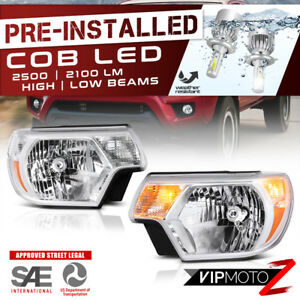 Cree Led Bulb Installed For 12 15 Toyota Tacoma Chrome Replacement Headlight
