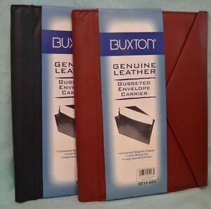 U Pick Buxton Document Holder Folio Executive Red Black Leather New Portfolio