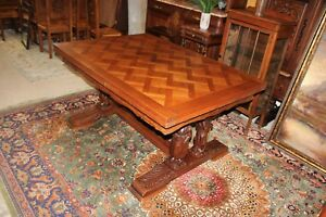 French Antique Carved Oak Brittany Draw Leaf Extendable Dining Room Table