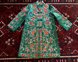 Rare Collectible Plum Blossoms Green Silk Chinese Embroidered Long Robe
