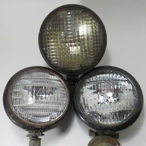 Lot Of 3 Vintage Tractor Lights Guide R8 60 Ge 4 4 5 Lens 5936059 Fog Lamps
