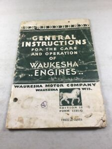 Waukesha Engines General Instructions For Care And Operations Manual