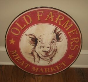 Pig Farmhouse Sign Farmers Meat Market Primitive French Country Kitchen Decor