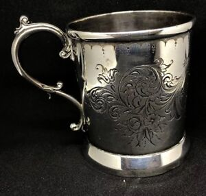 Antique C 1894 Floral Engraved Sterling Silver Baby Cup Mug 925 Hallmarked 1800s