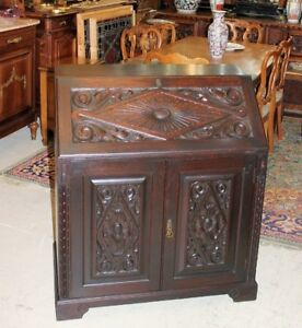 French Antique Carved Dark Oak Renaissance Drop Front Desk Small Cabinet