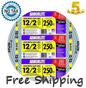 Southwire Armorlite 250 ft 12 2 Solid Aluminum Feeder Mc Cable Wire Exposed wet