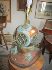 Navy Hard Hat Diving Helmet Lamp With Rustic Patina Antique Brass