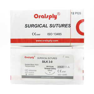 50 Boxes Silk 3 0 Surgical Sutures 75cm Needles 3 8 Circle Reverse Cutting 19mm
