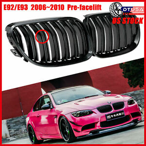 M3 Look Gloss Black Double Grill Grille For Bmw3 E92 E93 2006 2010 Pre facelift
