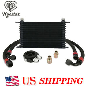 Universal 13 row 10an Engine Transmission Oil Cooler Filter Adapter Hose Kit New