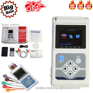New 3 channel Ecg ekg Holter System Analyzer 24h Software Recorder Monitor Usa
