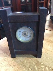 Arts And Crafts Mission Clock Oak And Brass