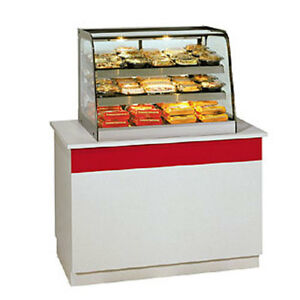 Federal Ch3628 Food Display Case Heated Countertop Curved Glass 2 Shelves H